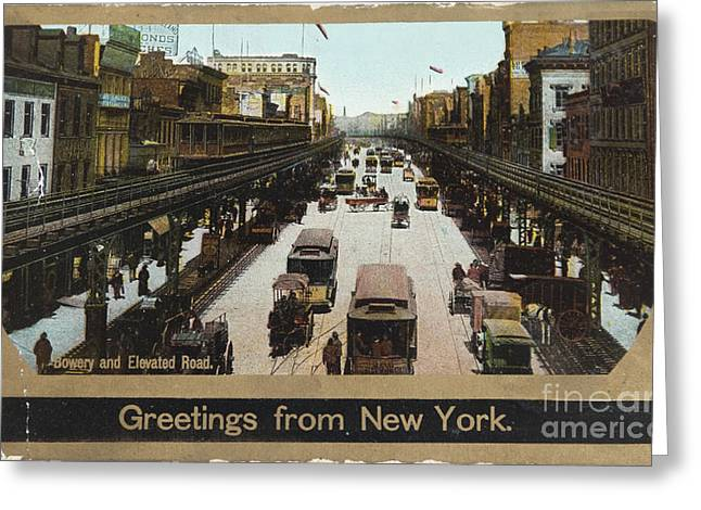 Third-oldest Greeting Cards - The Bowery in 1906 Greeting Card by Patricia Hofmeester