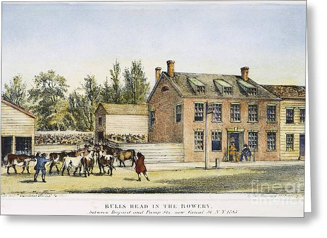 18th Century Greeting Cards - The Bowery, New York, 1783 Greeting Card by Granger