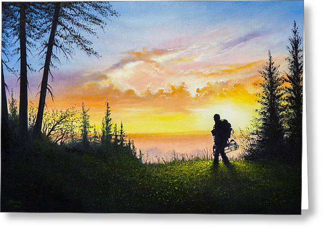 Sun Rays Paintings Greeting Cards - The Bowhunter Greeting Card by C Steele