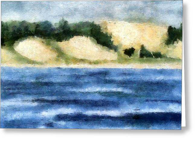 Blue Green Wave Greeting Cards - The Bowl - Dunes Study Greeting Card by Michelle Calkins