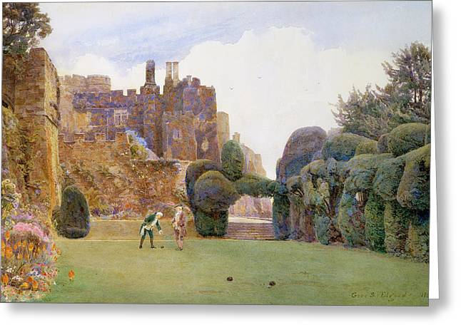 The Bowling Green, Berkeley Castle Greeting Card by George Samuel Elgood