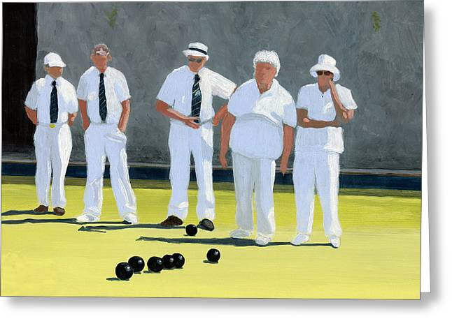 Gray Dress Greeting Cards - The Bowling Party Greeting Card by Karyn Robinson