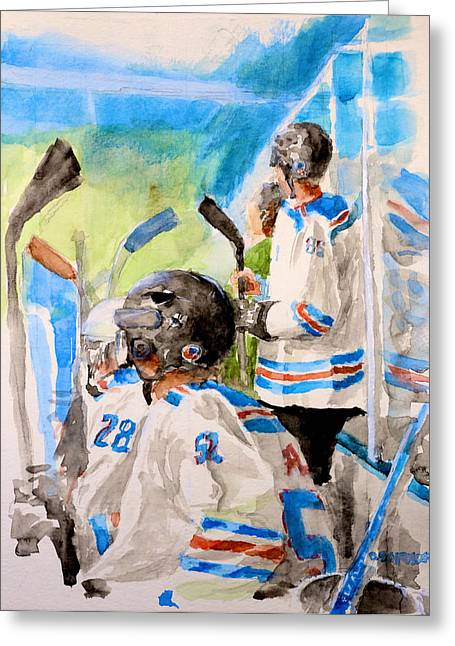 Hockey Paintings Greeting Cards - The Box Greeting Card by Don Schroeder