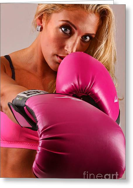 Hot Chick Greeting Cards - The Boxer - Boxing Greeting Card by Lee Dos Santos