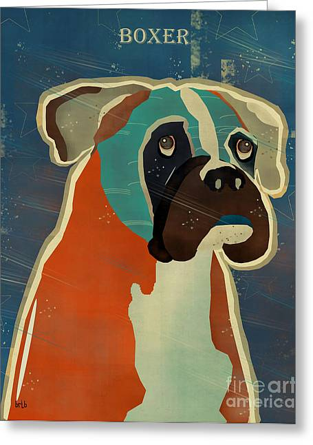 Boxer Print Greeting Cards - The Boxer Greeting Card by Bri Buckley