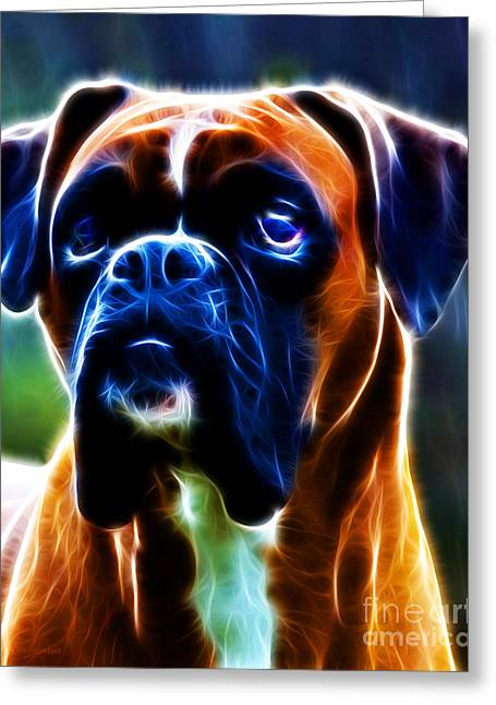 Toy Dogs Digital Art Greeting Cards - The Boxer - Electric Greeting Card by Wingsdomain Art and Photography