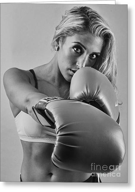 Hot Chick Greeting Cards - The Boxer II - Boxing Greeting Card by Lee Dos Santos