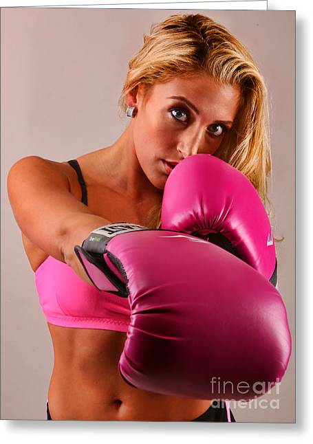 Hot Chick Greeting Cards - The Boxer III - Boxing Greeting Card by Lee Dos Santos