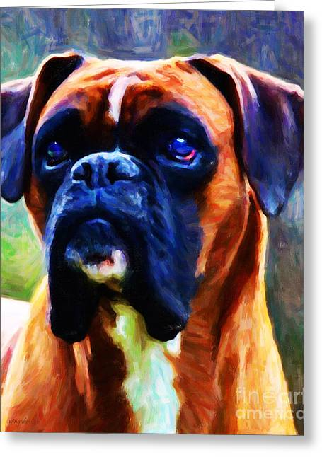 Toy Dogs Greeting Cards - The Boxer - Painterly Greeting Card by Wingsdomain Art and Photography