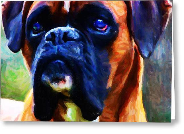The Boxer - Painterly Greeting Card by Wingsdomain Art and Photography