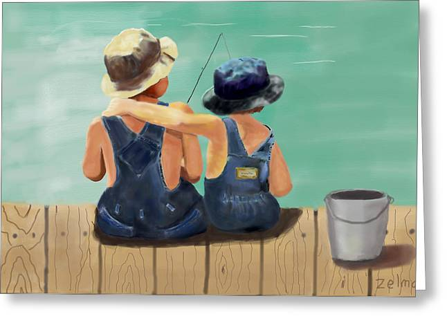 Zelma Hensel Greeting Cards - The Boys Fishing Greeting Card by Zelma Hensel