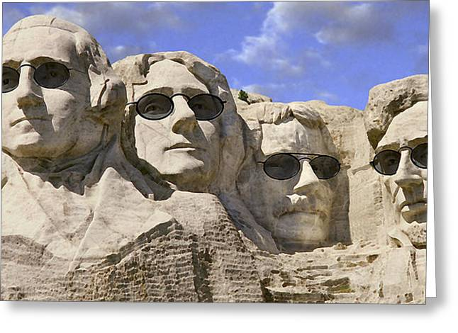 Mount Rushmore Greeting Cards - The Boys Of Summer 2 Panoramic Greeting Card by Mike McGlothlen