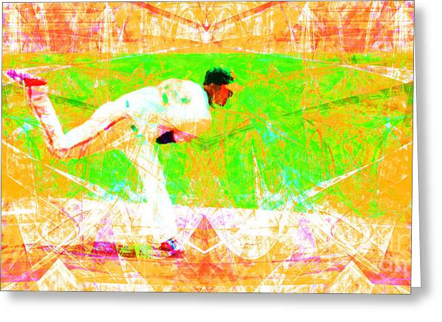 Att Baseball Park Greeting Cards - The Boys of Summer 5D28161 The Pitcher v1 Long Greeting Card by Wingsdomain Art and Photography