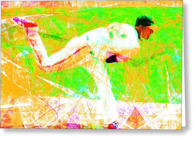 Att Baseball Park Greeting Cards - The Boys of Summer 5D28161 The Pitcher v1 Square Greeting Card by Wingsdomain Art and Photography