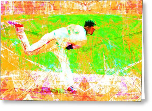 Att Baseball Park Greeting Cards - The Boys of Summer 5D28161 The Pitcher v1 Greeting Card by Wingsdomain Art and Photography