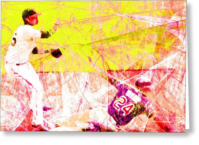 Att Baseball Park Greeting Cards - The Boys of Summer 5D28208 The Double Play Square v3 Greeting Card by Wingsdomain Art and Photography