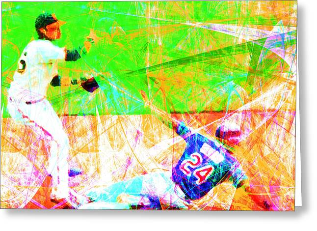 Att Baseball Park Greeting Cards - The Boys of Summer 5D28208 The Double Play Square Greeting Card by Wingsdomain Art and Photography