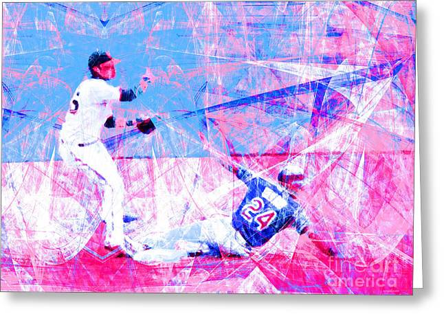 Att Baseball Park Greeting Cards - The Boys of Summer 5D28208 The Double Play v2 Greeting Card by Wingsdomain Art and Photography