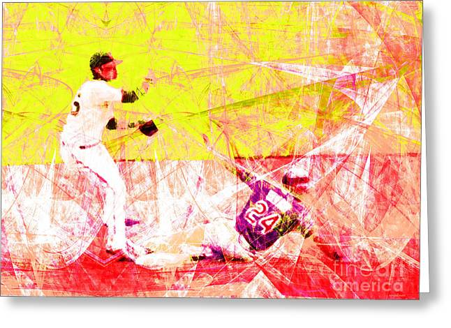 Att Baseball Park Greeting Cards - The Boys of Summer 5D28208 The Double Play v3 Greeting Card by Wingsdomain Art and Photography