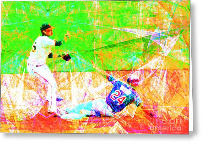 Att Baseball Park Greeting Cards - The Boys of Summer 5D28208 The Double Play Greeting Card by Wingsdomain Art and Photography