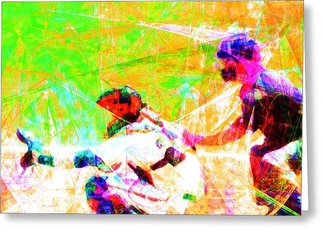 Minor League Greeting Cards - The Boys of Summer 5D28228 The Catcher Square Greeting Card by Wingsdomain Art and Photography