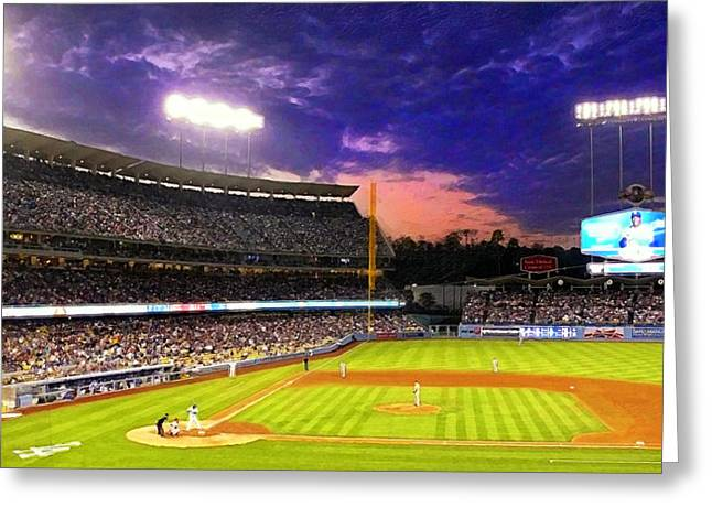Boys Of Summer Greeting Cards - The Boys of Summer at Dodger Stadium Greeting Card by Ron Regalado