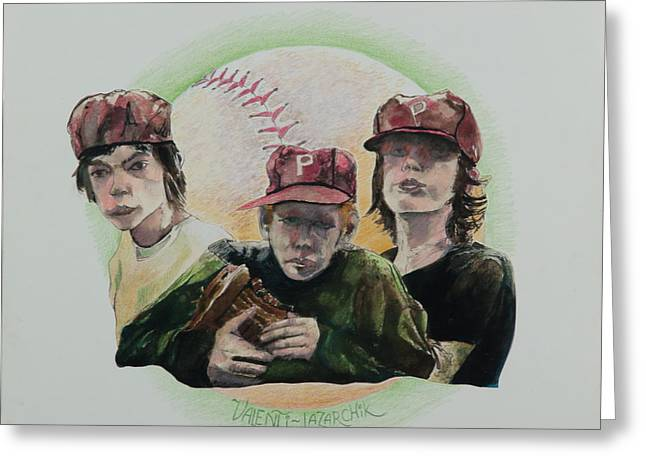 Red Sox Art Greeting Cards - The Boys of Summer Greeting Card by Gina Valenti-Lazarchik