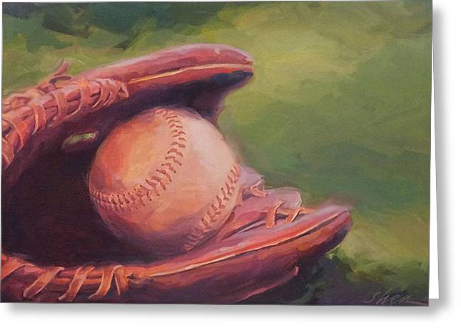 Baseball Gloves Paintings Greeting Cards - The Boys of Summer Greeting Card by Shawn Shea