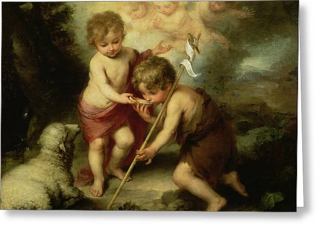 Child Jesus Photographs Greeting Cards - The Boys With The Shell, C.1670 Oil On Canvas Greeting Card by Bartolome Esteban Murillo