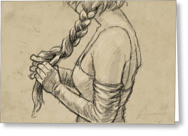 The Braid Greeting Card by H James Hoff