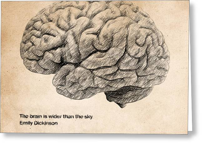 Textured Drawings Greeting Cards - The brain is wider than the sky Greeting Card by Taylan Soyturk