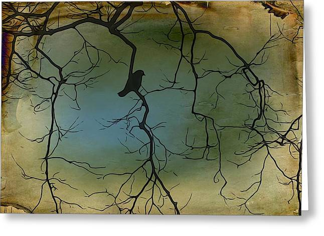 Crow Image Greeting Cards - The Branches Greeting Card by Gothicolors Donna Snyder