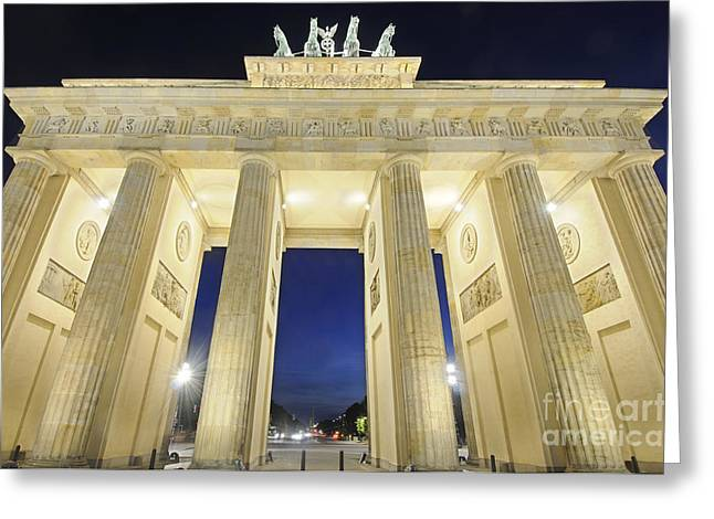 The Brandenburg Gate At Night Greeting Card by Colin Woods