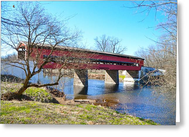 The Brandywine Creek And Smith's Covered Bridge Greeting Card by Bill Cannon