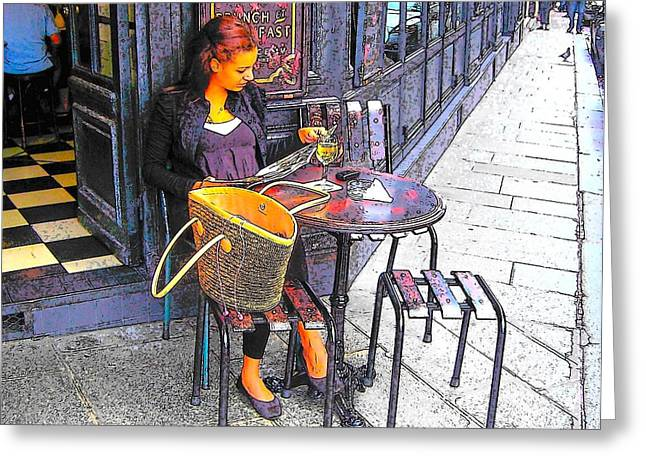 Paris Shops Greeting Cards - The Brasserie in Paris Greeting Card by Jan Matson