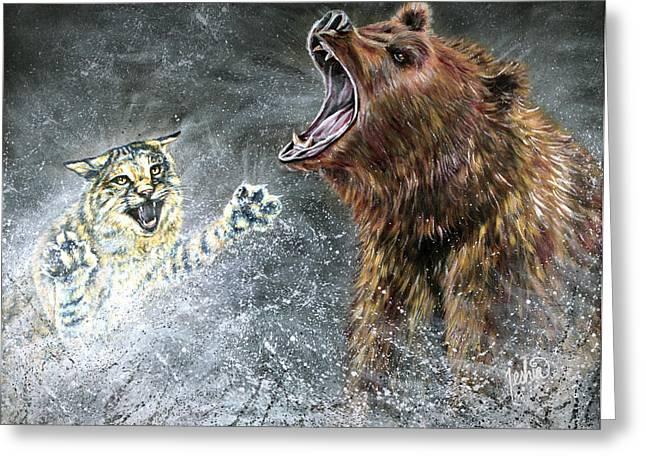 Bobcats Paintings Greeting Cards - The Brawl Greeting Card by Teshia Art