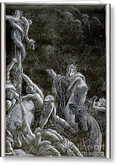 Christianity Reliefs Greeting Cards - The Brazen Serpent Greeting Card by Unknown
