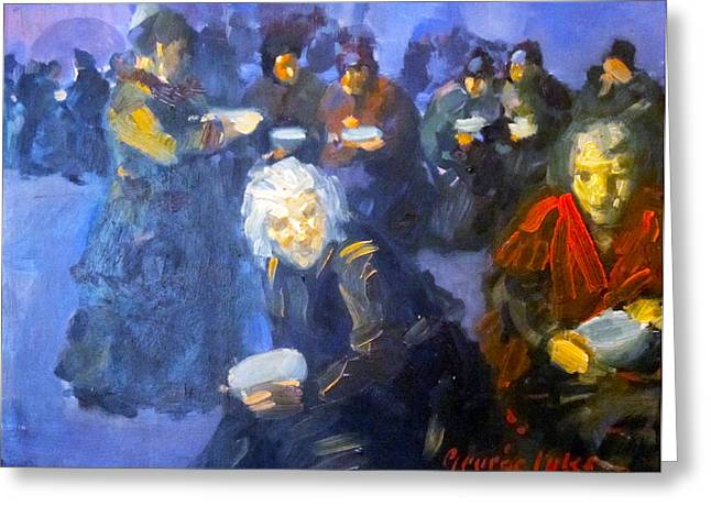 Poor People Greeting Cards - The Bread Line Greeting Card by George Benjamin Luks