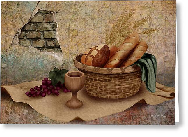 Goblet Greeting Cards - The Bread of Life Greeting Card by April Moen