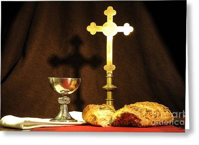 Chalice Greeting Cards - The Bread of Life Greeting Card by Donald Davis
