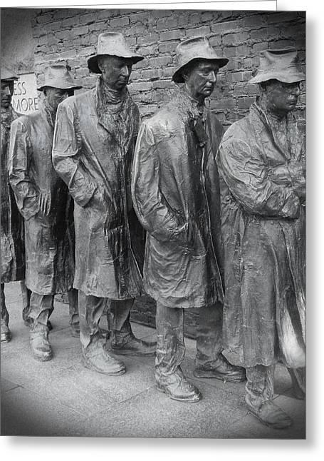 Franklin Roosevelt Digital Art Greeting Cards - The Breadline BW - FDR Memorial Greeting Card by Emmy Marie Vickers
