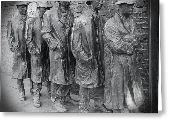 The Breadline Bw - Fdr Memorial Greeting Card by Emmy Marie Vickers