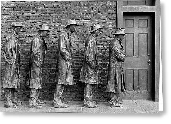 President-elect Greeting Cards - The Breadline by George Segal Greeting Card by Allen Beatty