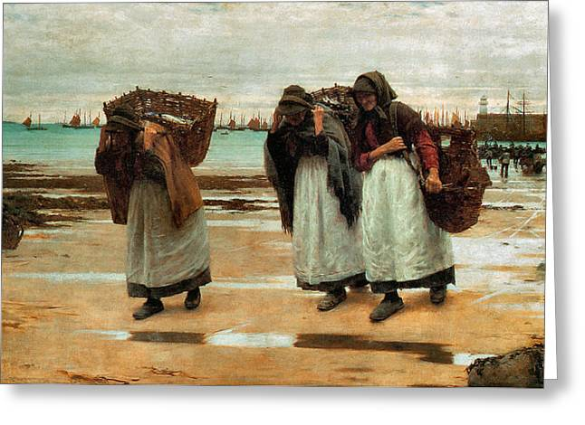 Apron Digital Greeting Cards - The Breadwinners  Greeting Card by Walter Langley