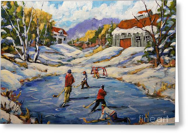 Canadian Winter Art Greeting Cards - The Break Away by Prankearts Greeting Card by Richard T Pranke