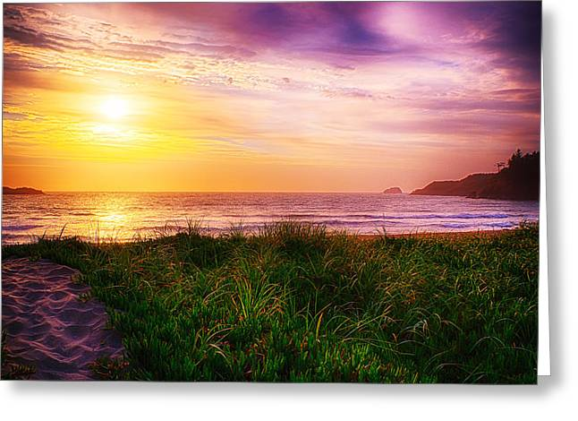 Trinidad Beach Sunset Greeting Cards - The Break Greeting Card by James Heckt