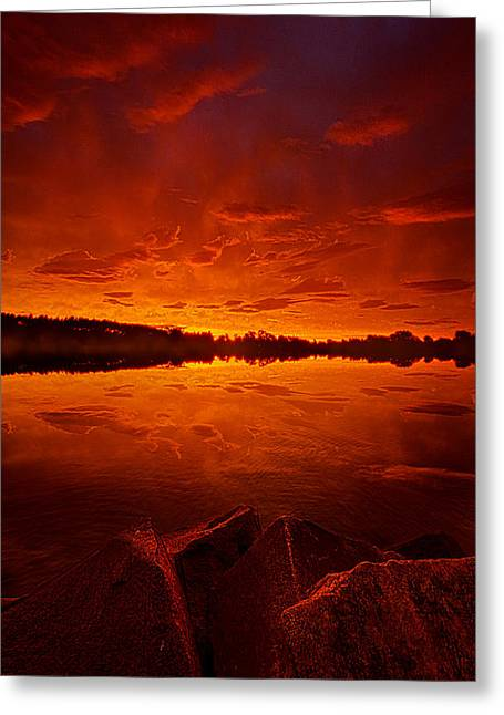 Storm Clouds; Sunset; Twilight; Water Greeting Cards - The Break of Dawn Greeting Card by Phil Koch