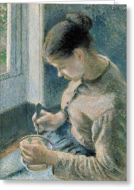 1874 Greeting Cards - The breakfast Greeting Card by Camille Pissarro