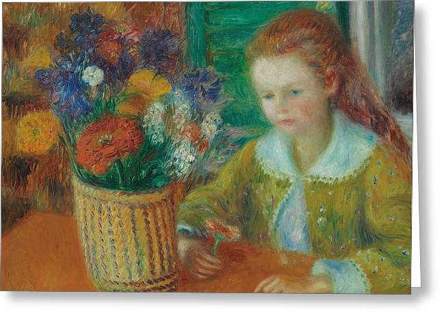 Vibrant Green Greeting Cards - The Breakfast Porch Greeting Card by William James Glackens