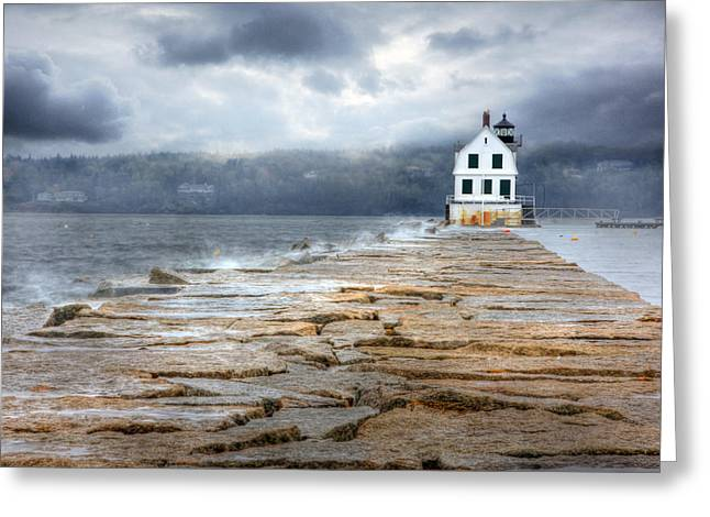 Maine Ocean Greeting Cards - The Breakwater Lighthouse Greeting Card by Lori Deiter